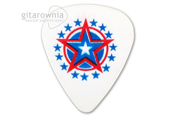 D'ANDREA USA351 White Blue Red Star, kostka gitarowa medium